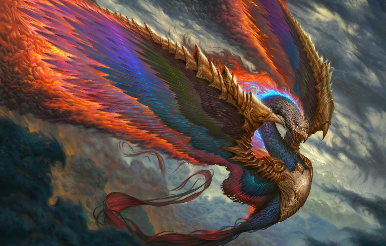 Wallpaper fire bird wings feathers beak fantasy art Fenix 1332x850