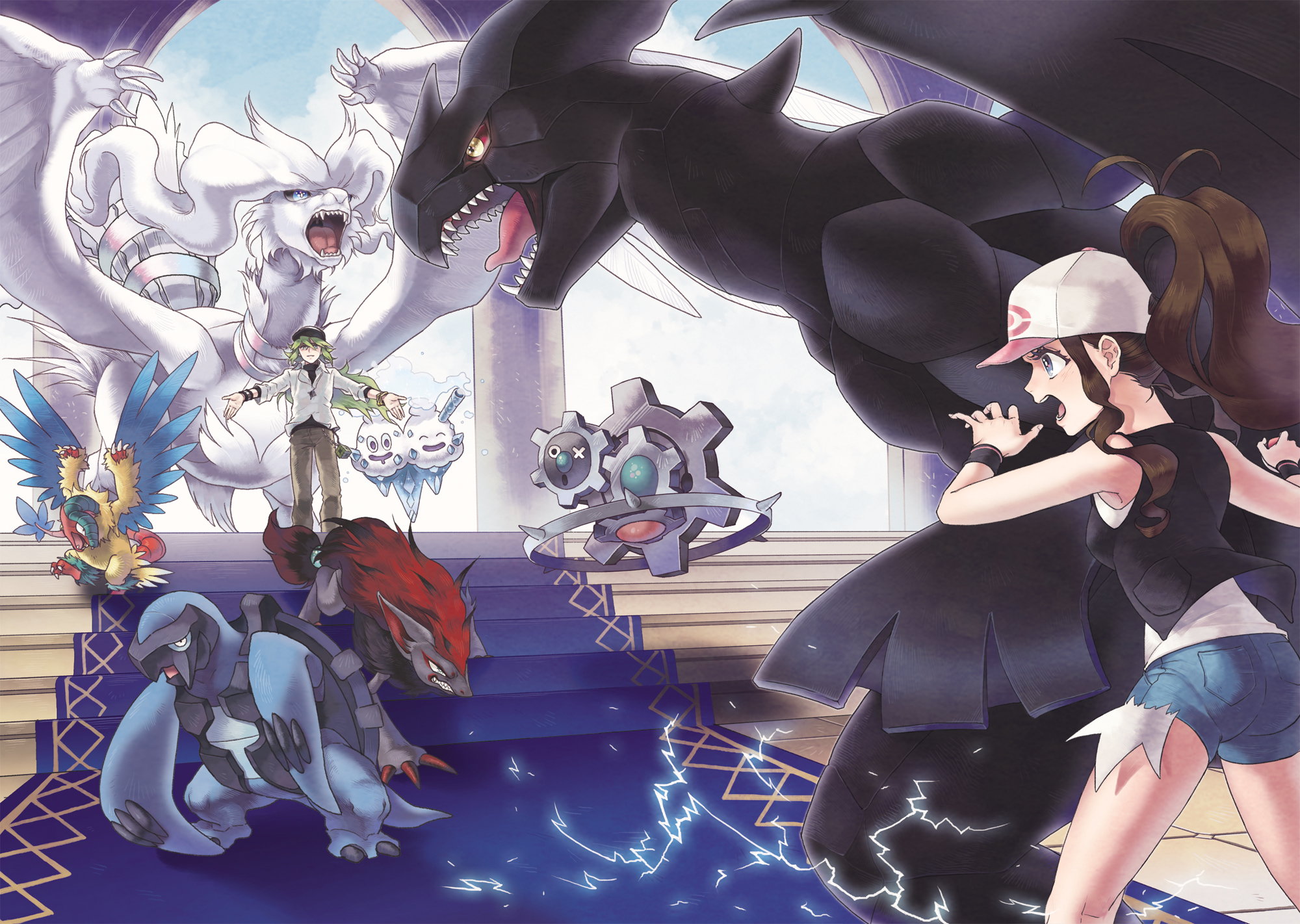 The final fight Reshiram Vs Zekrom HD Wallpaper Background 2000x1422