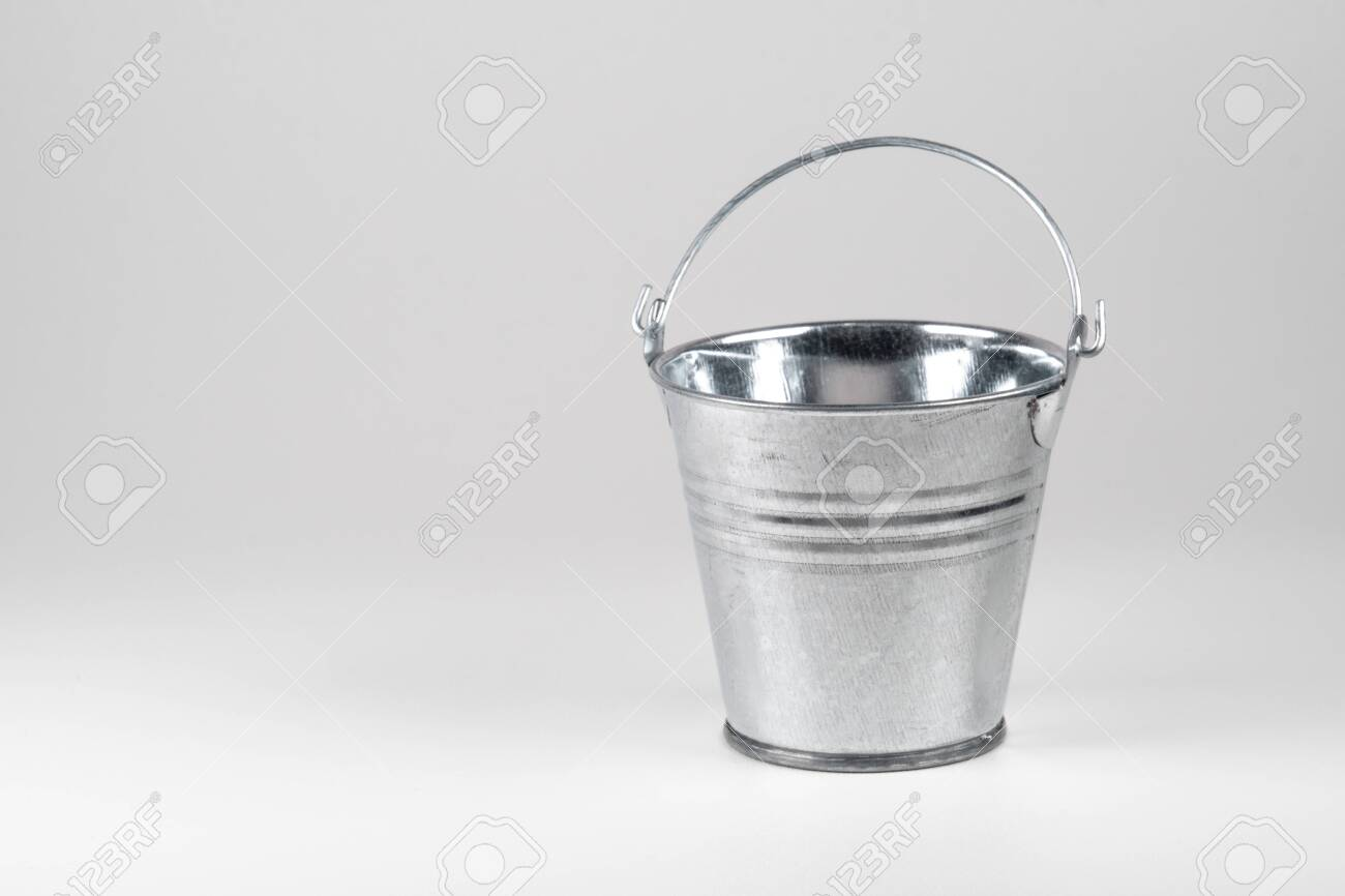 Small Galvanized Bucket On White Background Stock Photo Picture 1300x866