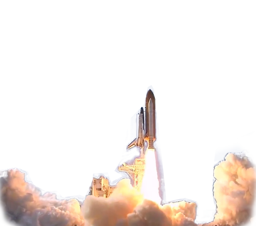 Space Shuttle launch transparent background PNG web design graphics 895x791
