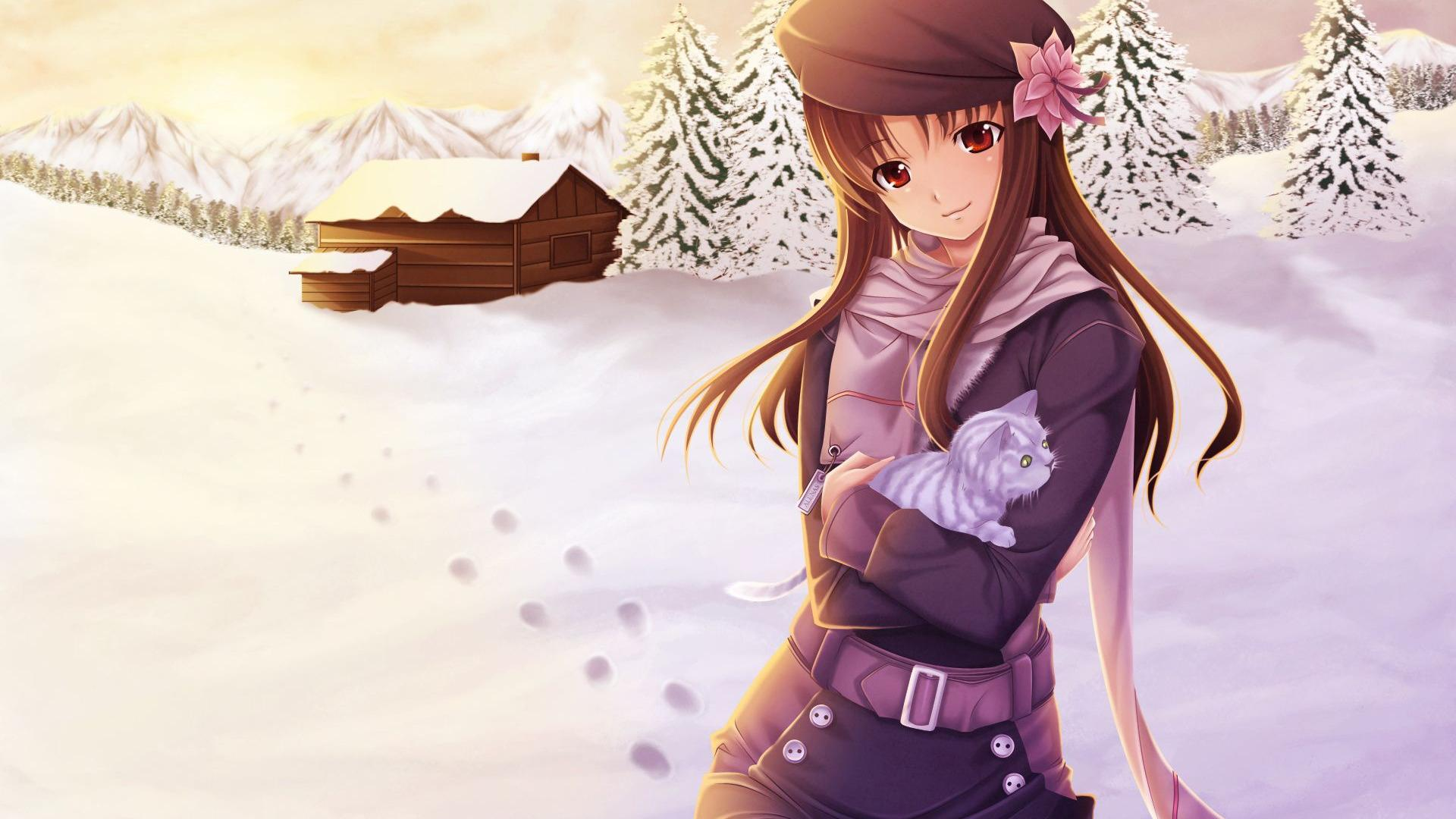 Anime Girl Winter Snow HD Wallpaper of Anime   hdwallpaper2013com 1920x1080