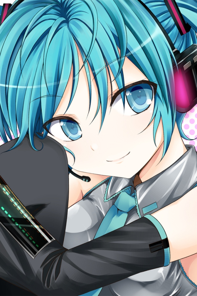 Vocaloid Hatsune Miku Girl Nice Smile Wallpaper Background IPhone 640x960