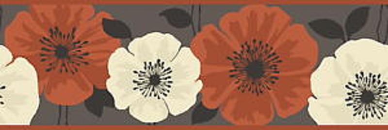 Decor Poppy Poppies Chocolate Brown Orange Wallpaper Border FDB05438 800x269