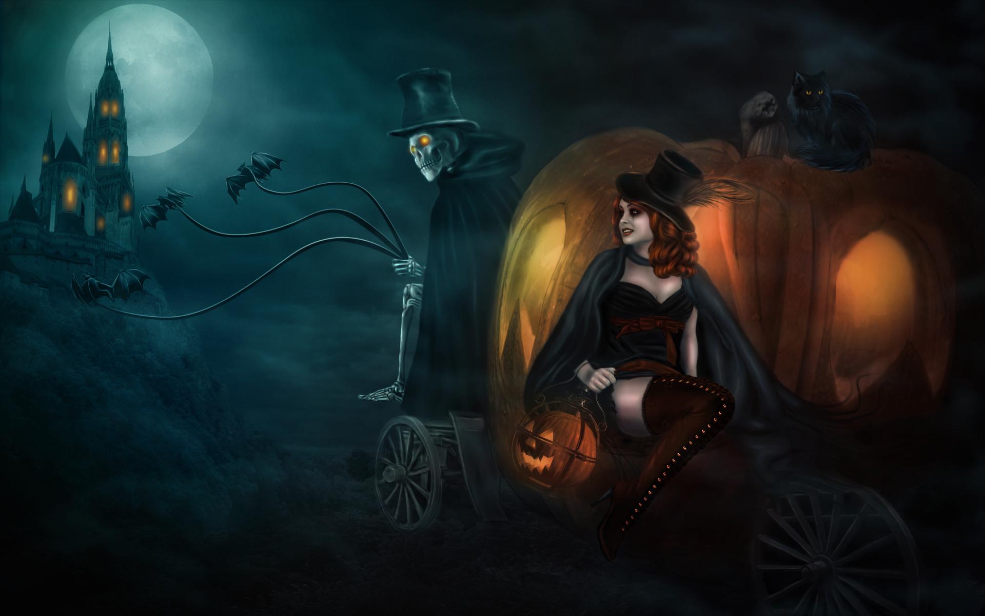 Witch on a pumpkin cat wallpaper 14931 1920x1200