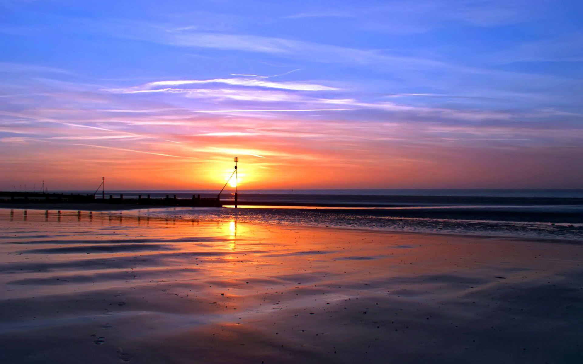 Romantic Beach Sunset Wallpaper High Definition   Sunset Beach Nc 1920x1200