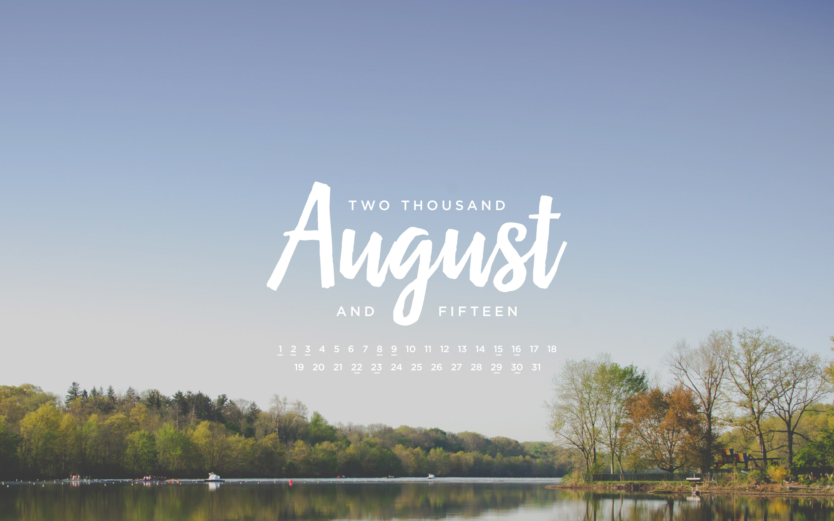 August 2015 Desktop Calendar Wallpaper Paper Leaf 2880x1800
