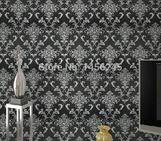 blacksilver damask wallpaper background wall bedroom wallpaper 653x572