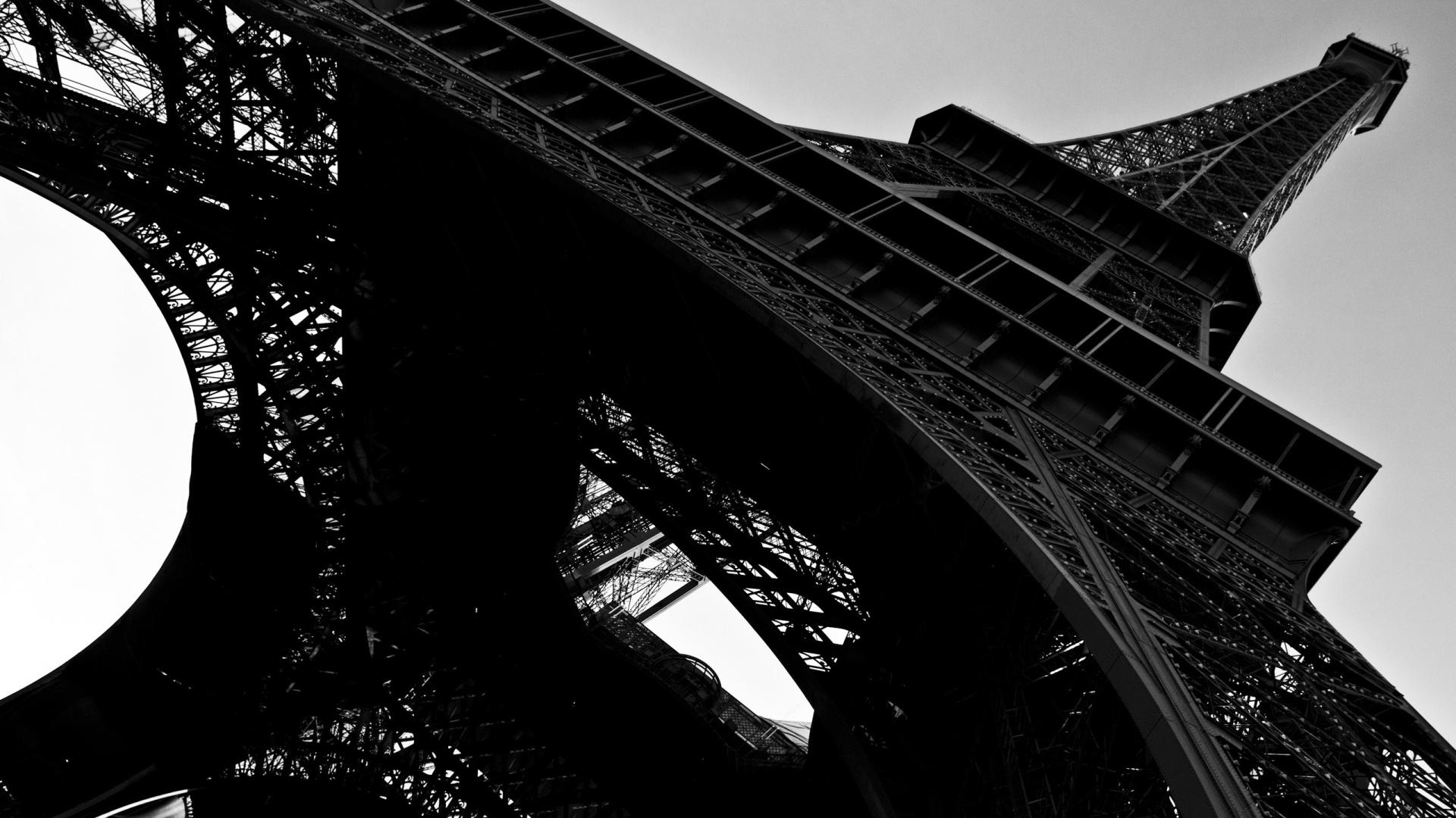 Eiffel Tower Black And White Desktop Wallpaper 1920x1080