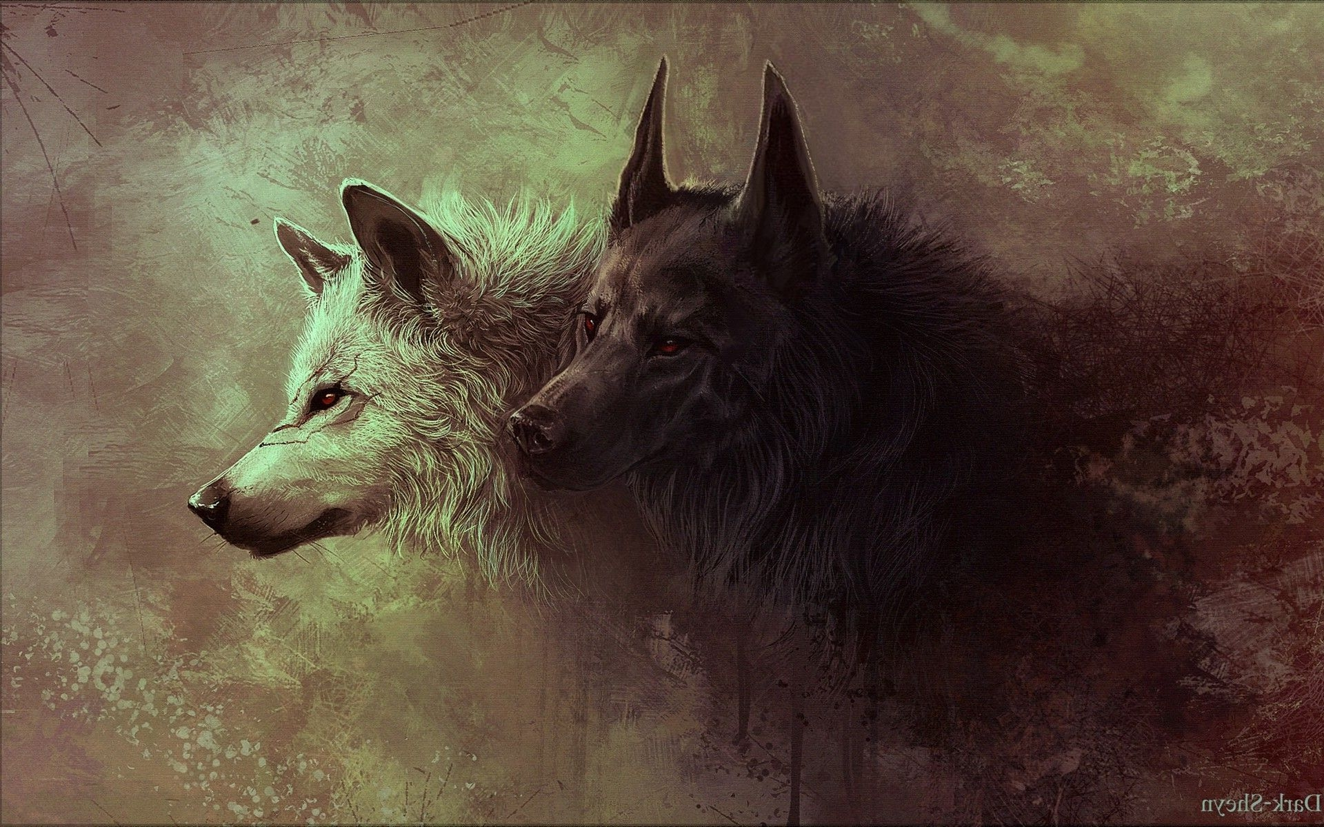 Gray and Black Wolves Painting Wallpapers HD 1920x1200