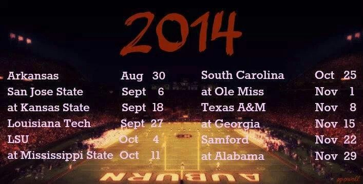 Auburn 2014 football schedule NCAA CollegeFootball For Great Sports 707x359