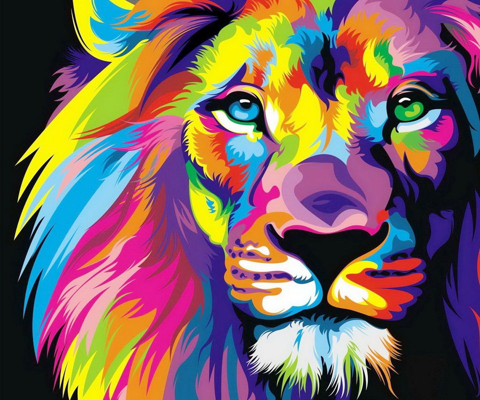 [40+] Colorful Lion Wallpaper On WallpaperSafari