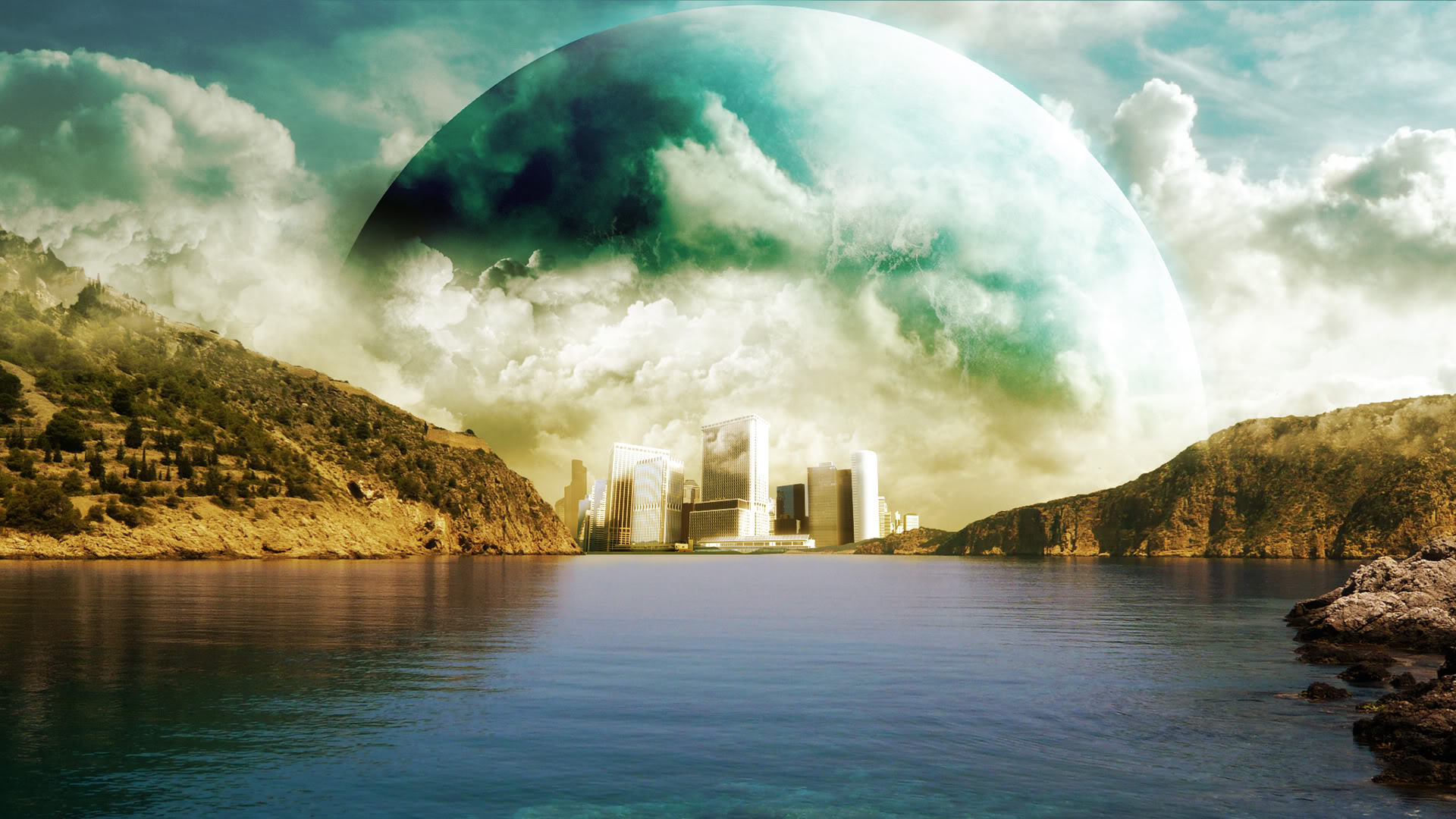 High Resolution Awesome Fantasy Sci Fi Landscape Wallpaper HD 1 1920x1080