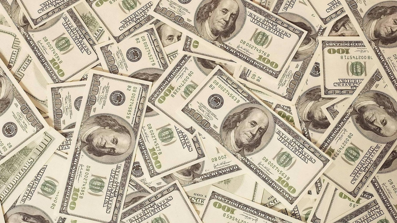 Dollers Back ground HD 100 doller bills bulk Cash HD Background 1366x768