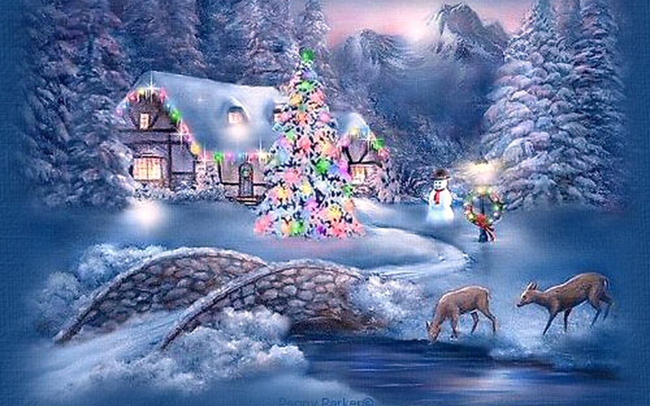 Winter   Christmas Scenery Hd Desktop Wallpaper 1280x800