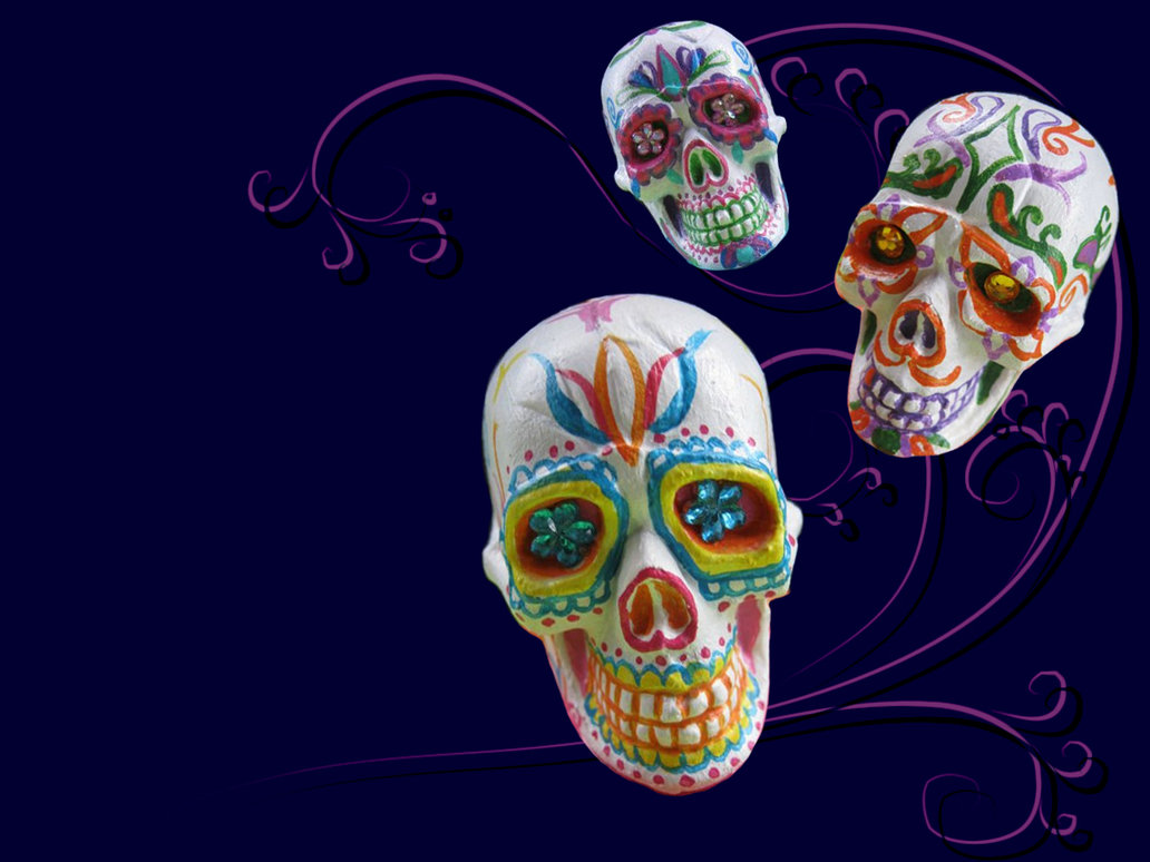 3d Sugar Skulls wallpaper by Myrcury Art 1032x774