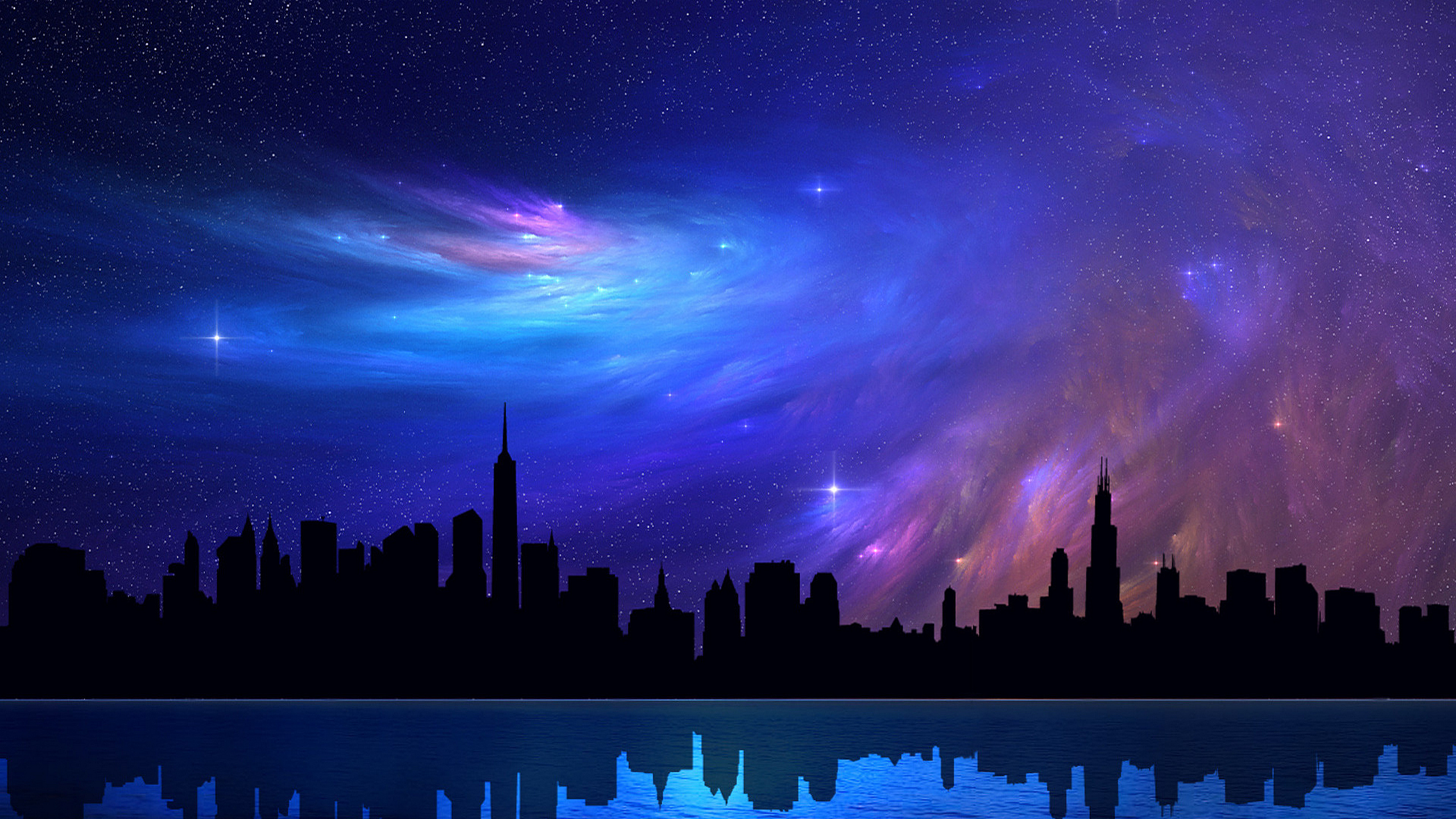 Skyline Cityscape Cool Neon Painted HD Walls Find Wallpapers 2560x1440