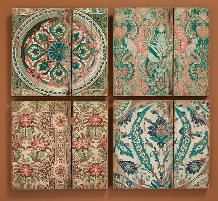 Vintage wallpaper patterns on wood have a distressed romantic look 736x679