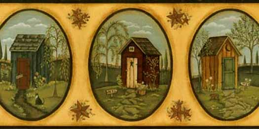 Her Primitive Outhouse Border   Wallpaper Border Wallpaper inccom 525x263