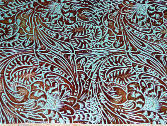 Turquoise Western Floral and Leaf tooled pattern Cowhide PeggySueAlso 570x428