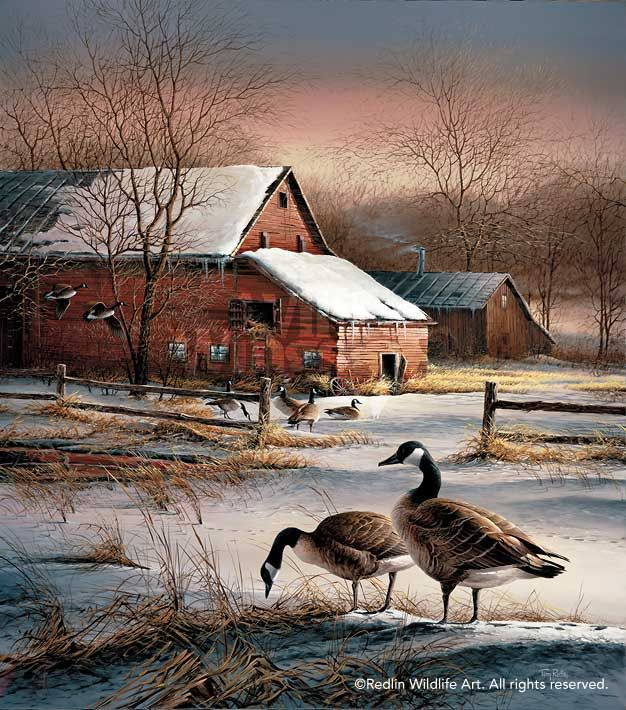 Terry Redlin WINTER HAVEN Encore Print Canada Geese Winter Farm Barn 626x710