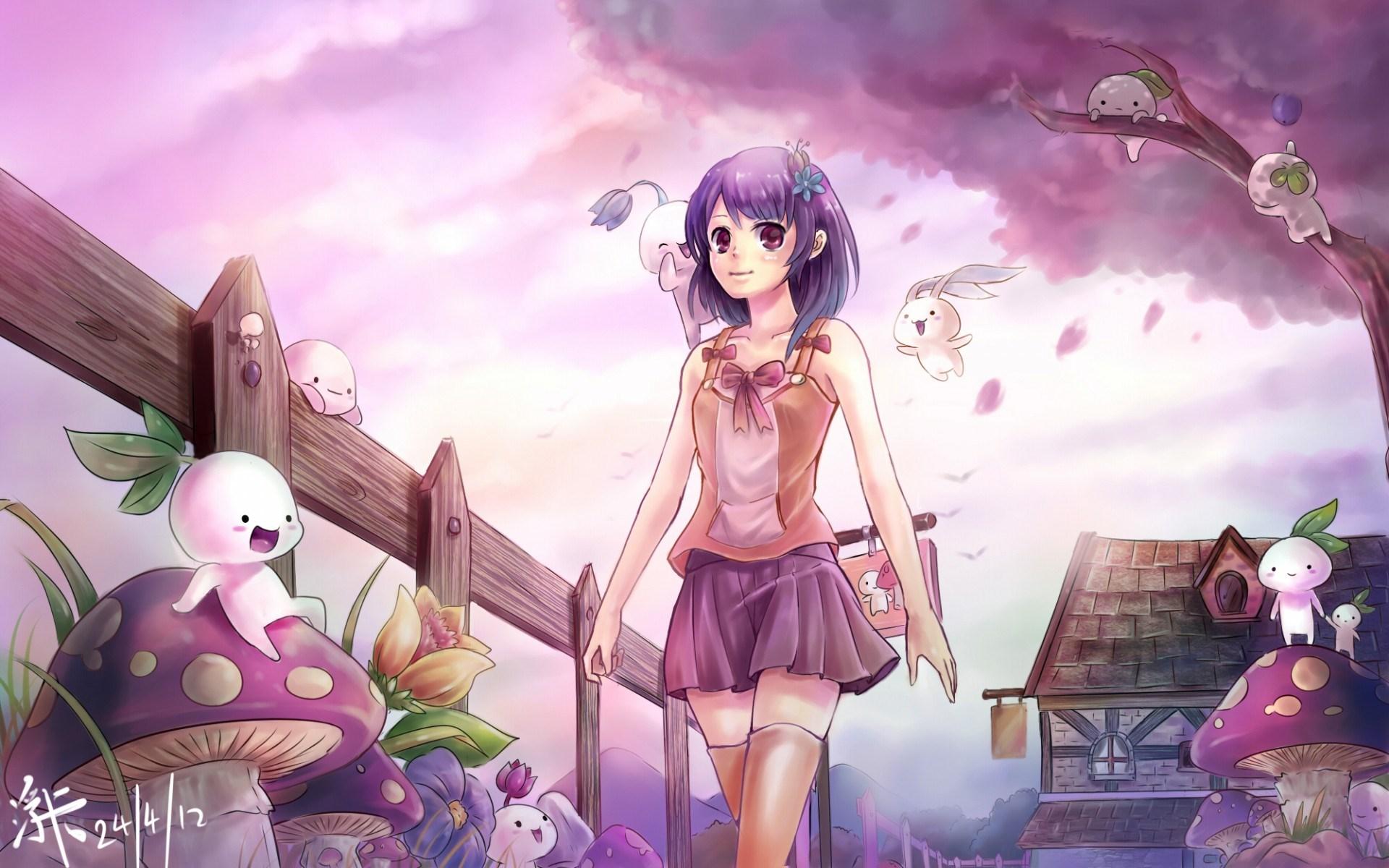 manga anime cute purple girl bunny mushrooms hd wallpaper 1920x1200