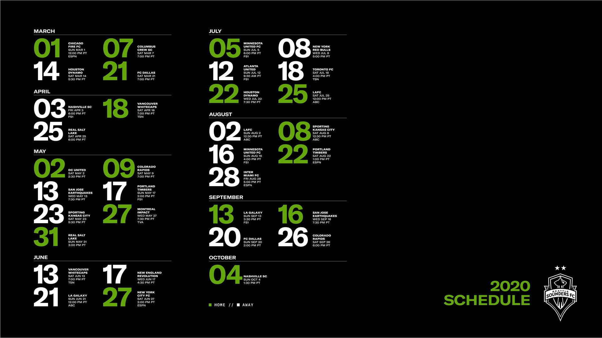 Sounders FC 2020 Schedule Wallpaper Seattle Sounders FC 1920x1080