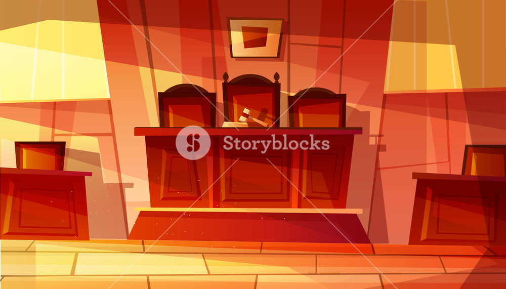 Vector illustration of empty courthouse interior with furniture 1000x571