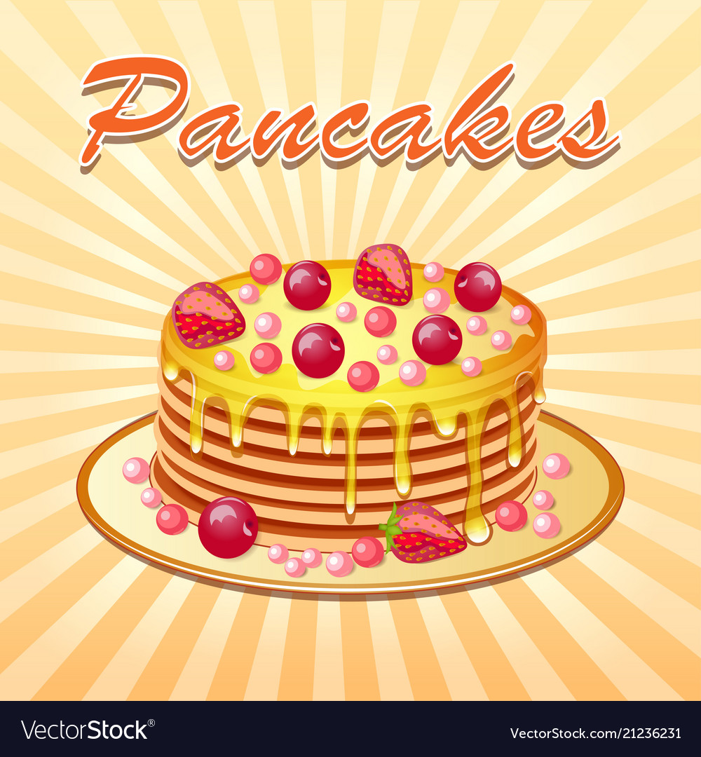 Background of pancakes with honey and cherry Vector Image 1000x1080