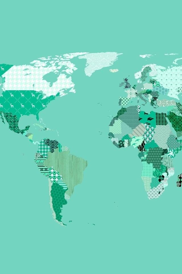 Green Modgepodge World Map iPhone 4 Wallpaper 640x960 640x960