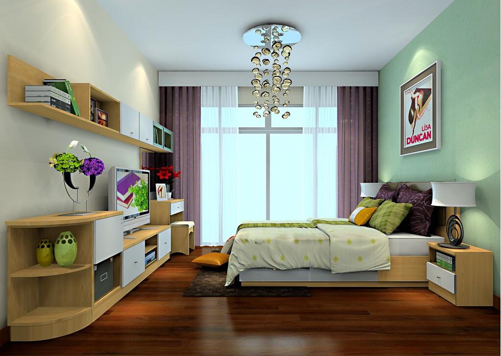 2015 bedroom interior design with elegant wallpaper Download 3D 1022x727