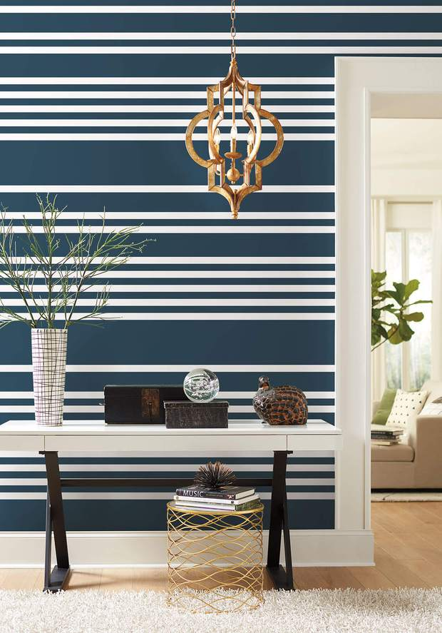 SR1617 Scholarship Stripe Wallpaper   Navy US Wall Decor 620x887