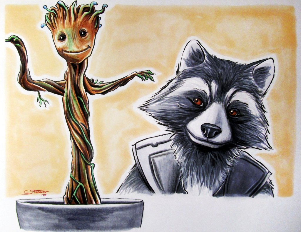 Rocket Raccoon And Groot Drawing Baby Groot Rocket Raccoon 1024x792