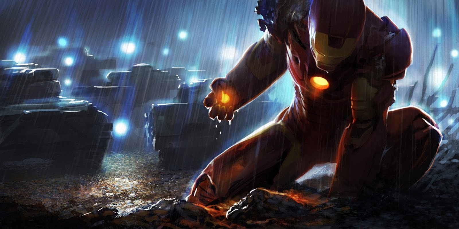 Iron Man Comic Marvel Heroes Superhero Raining Tanks HD Wallpaper 1600x798
