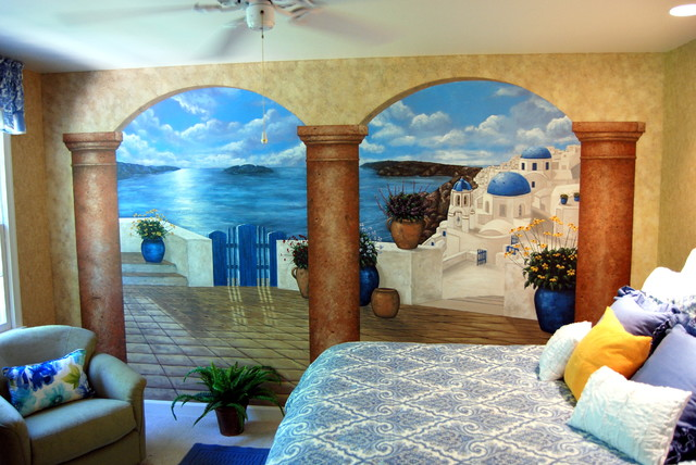 Santorini Greece Mural in a bedroom by Tom Taylor of Wow Effects 640x428