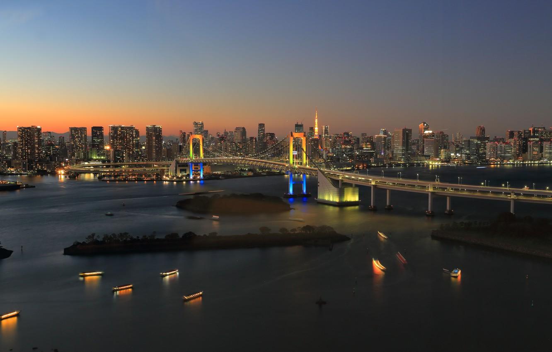 Wallpaper Tokyo Japan twilight bridge sunset dusk Rainbow 1332x850