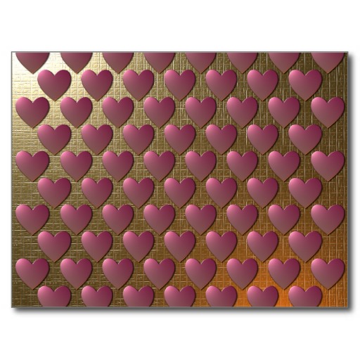 Metallic Gold Wallpaper with Pink Hearts Postcard Zazzle 512x512