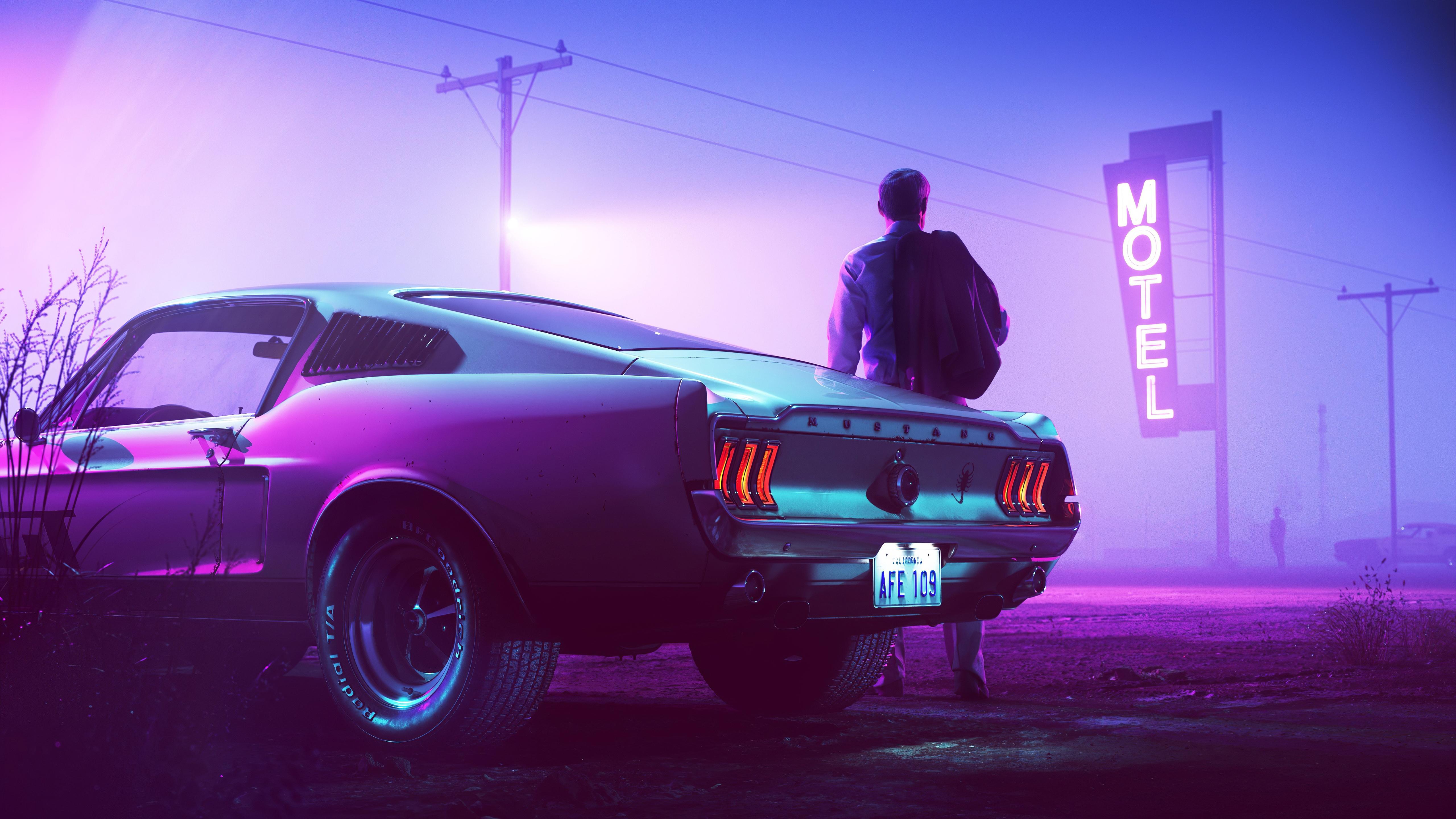 Retrowave Neon Mustang Driver 5k Wallpaper Title   Neon Car 5120x2880