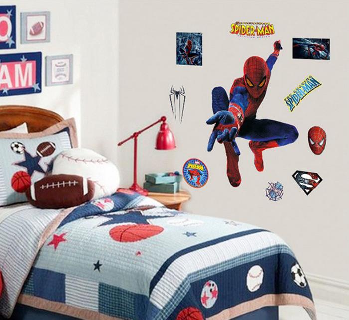 New 3D Spiderman Wall Sticker Self adhesive Wallpaper For Kids Room 700x641