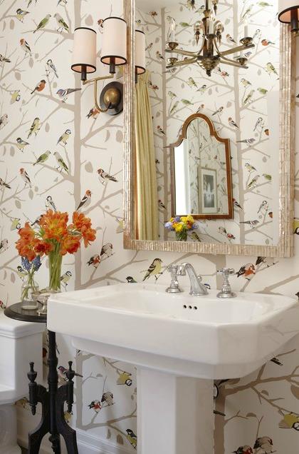 Sarahs House Powder Room Bird Wallpaper Source   The Inspired Room 420x636