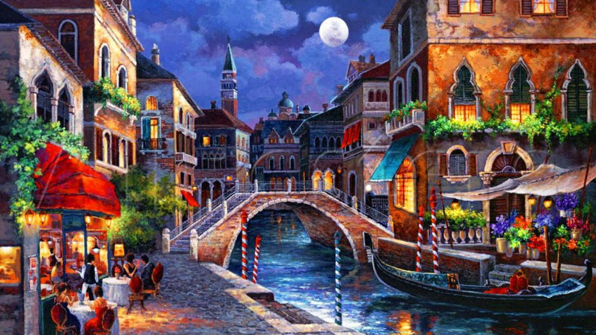 Venice At Night Painting HD Wallpaper Background Images 1920x1080