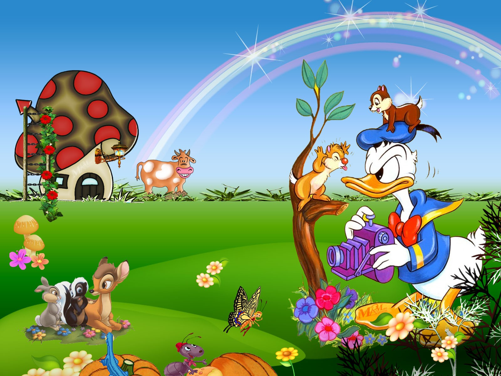 cartoon garden wallpaper cartoon wallpaper screensavers 1600x1200