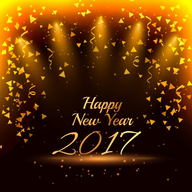 New year background with golden confetti Vector 626x626