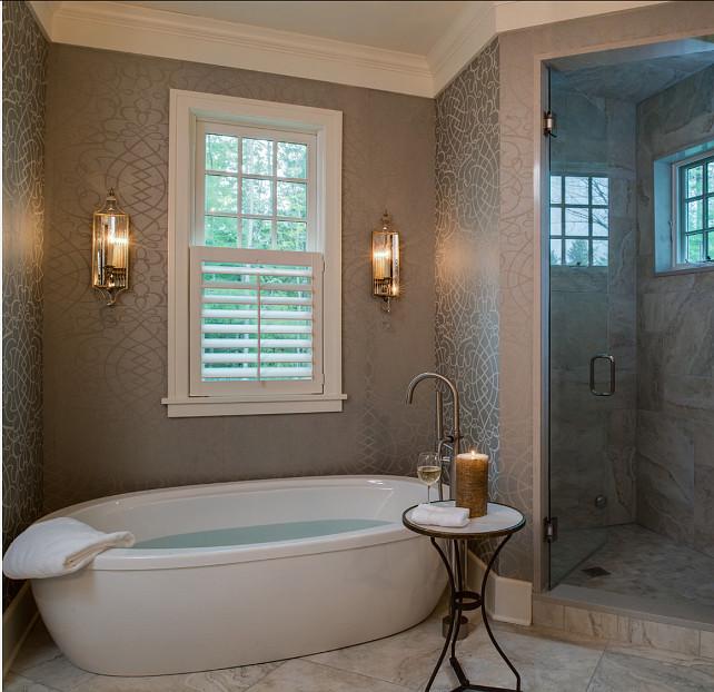 Bath Gorgeous bathroom with freestading bath and wallpaper Bathroom 642x622