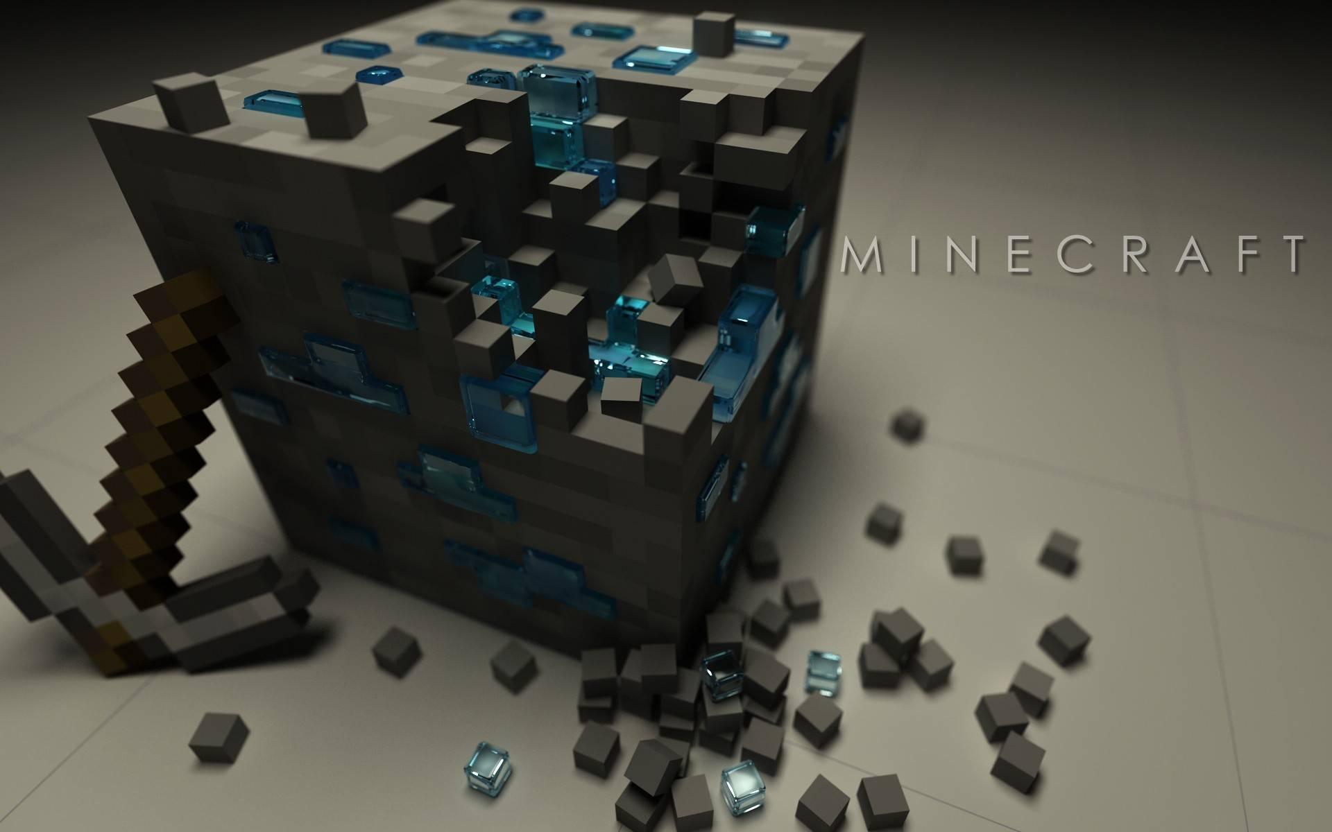 Minecraft Block Minecraft stone block with diamonds 1920x1200