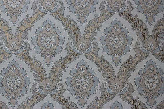 Blue and Beige on White Damask Vintage Wallpaper  Made in England 570x380