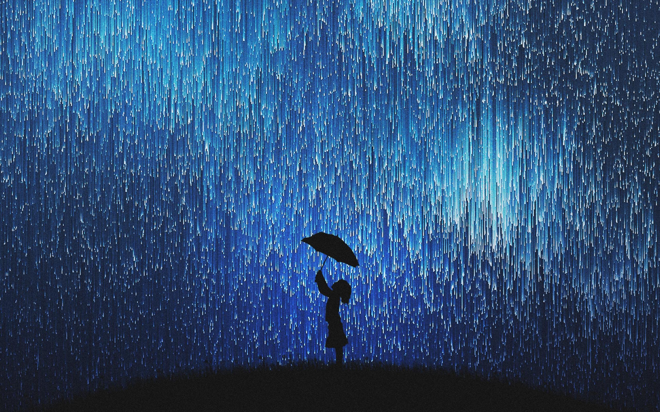 Wallpaper of Umbrella Rain Silhouette Dream background HD image 2560x1600