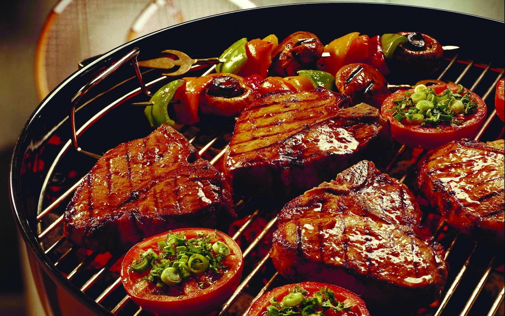 Grilled steak on gray charcoal grill HD wallpaper Wallpaper Flare 1920x1200