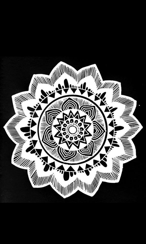 background black and white draw mandala self made wallpaper 610x1020