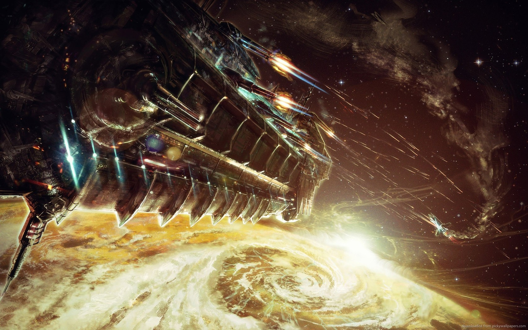 Download 1680x1050 Spaceship Battle Wallpaper 1680x1050
