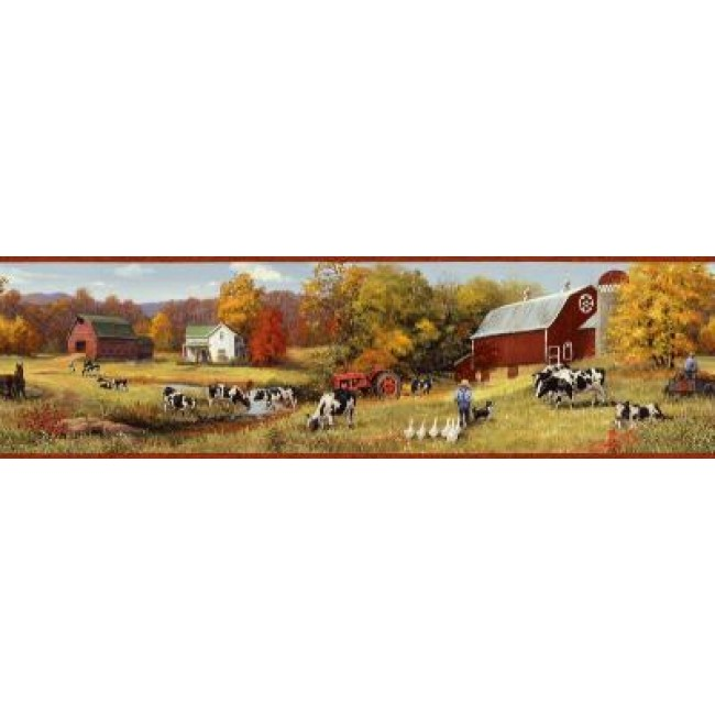 Down on the Farm with Cows Wallpaper Border   All 4 Walls Wallpaper 650x650